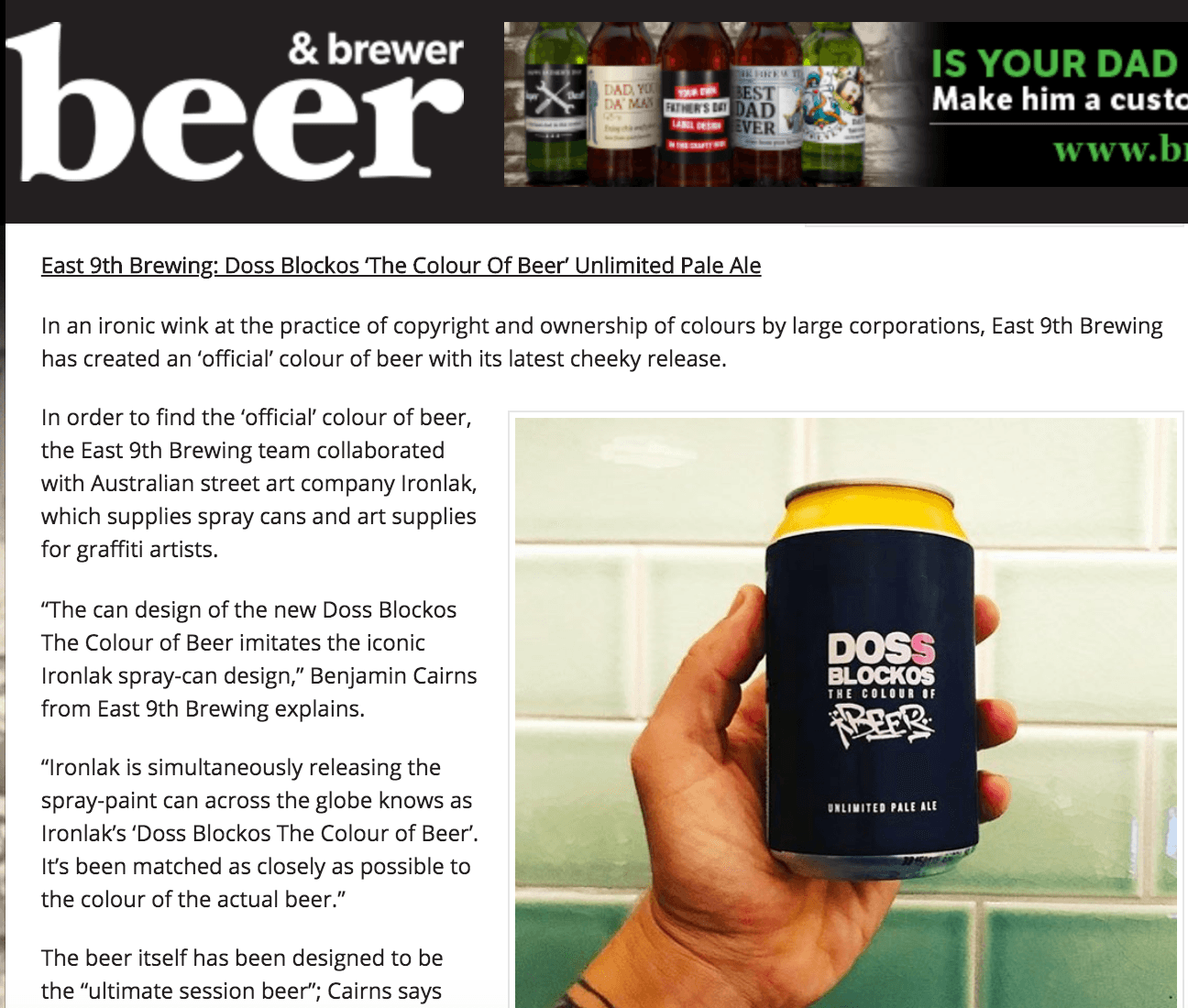 East 9th Brewing: Doss Blockos 'The Colour Of Beer